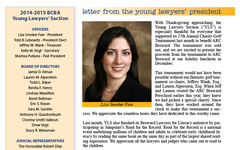 Attorney Liza Smoker's Letter From The Young Lawyers' President Was Published In This Month's Barrister Magazine By The Broward County Bar Association