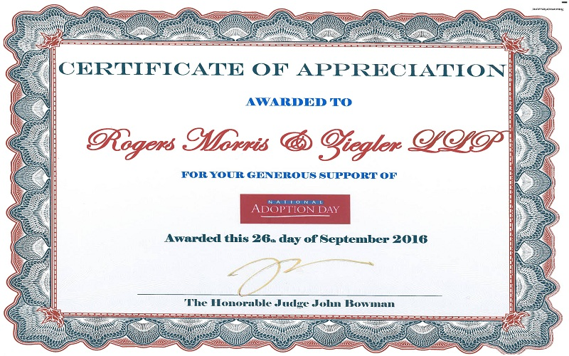 Rogers, Morris & Ziegler Is Proud To Support National Adoption Day