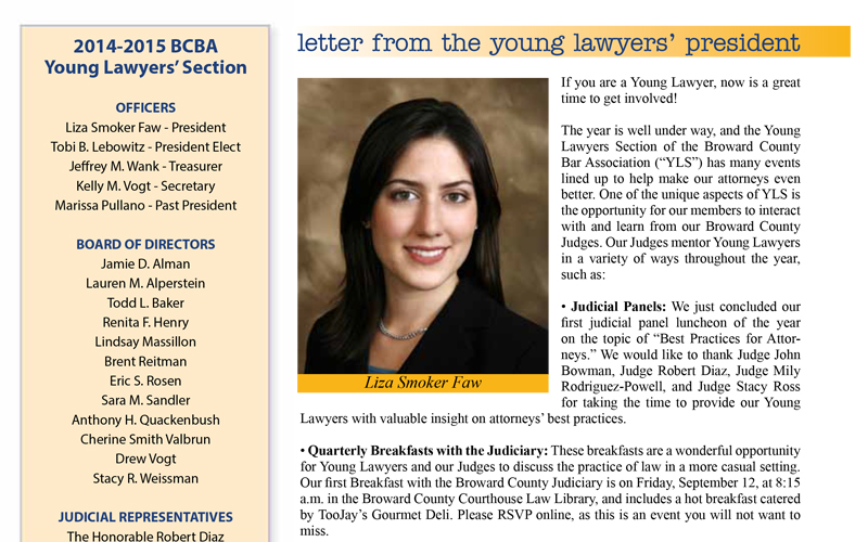 Attorney Liza Smoker S Letter From The Young Lawyers President